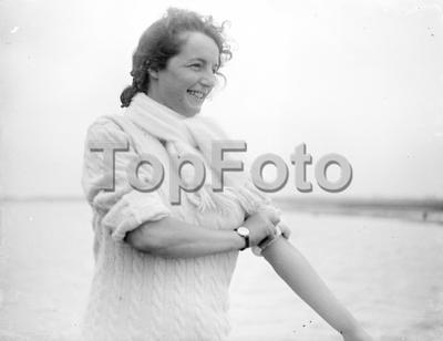 Mrs Thompson (nee Rita Parker) at the seaside. 1933