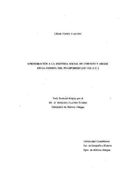 Aproximación a la historia social de Corinto y Argos en la Guerra del Peloponeso (431-415 a.C.)