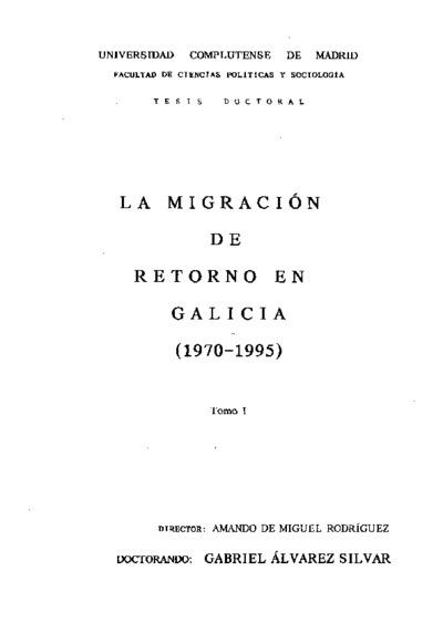 La migración de retorno en Galicia (1970-1995)