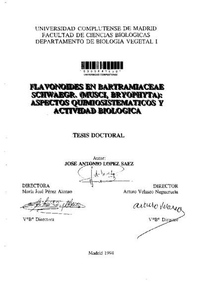 Flavonoides en Bartramiaceae Schawaegr. (Musci, Bryophyta) aspectos quimiosistemáticos y de actividad biológica