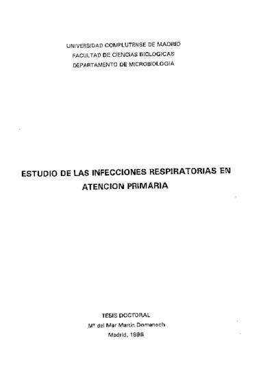 Estudio de las infecciones respiratorias en atención primaria