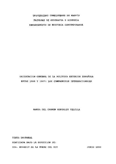 Orientación general de la política exterior española entre 1898 y 1907 los compromisos internacionales