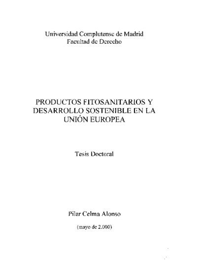 Productos fitosanitarios y desarrollo sostenible en la Unión Europea