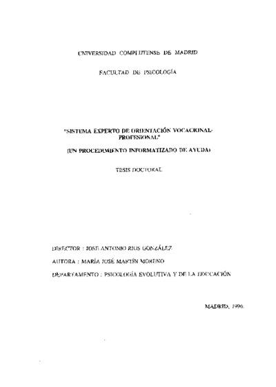 Sistema experto de orientación vocacional-profesional (un procedimiento informatizado de ayuda)