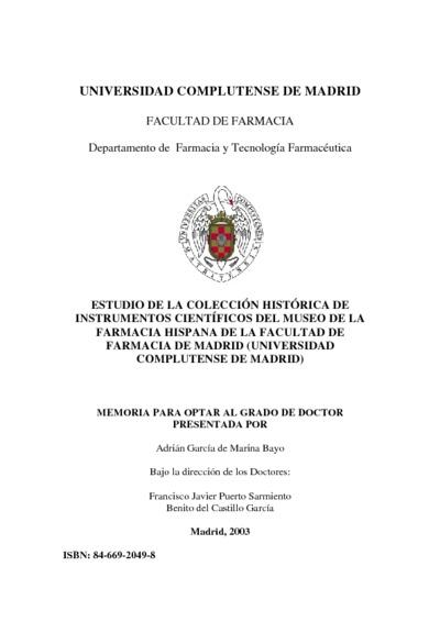 Estudio de la colección histórica de instrumentos científicos del museo de la farmacia hispana de la Facultad de Farmacia de Madrid (Universidad Complutense de Madrid)
