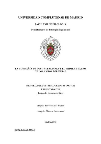 La Compañía de los Trufaldines y el primer teatro de los Caños del Peral