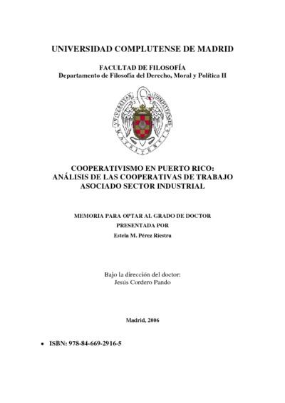 Cooperativismo en Puerto Rico análisis de las cooperativas de trabajo asociado sector industrial