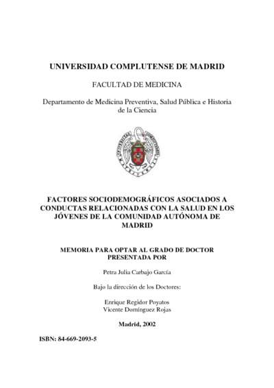 Factores sociodemográficos asociados a conductas relacionadas con la salud en los jóvenes de la Comunidad Autónoma de Madrid