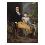 Porträt eines Mannes mit seiner Tochter und einem Jagdhund