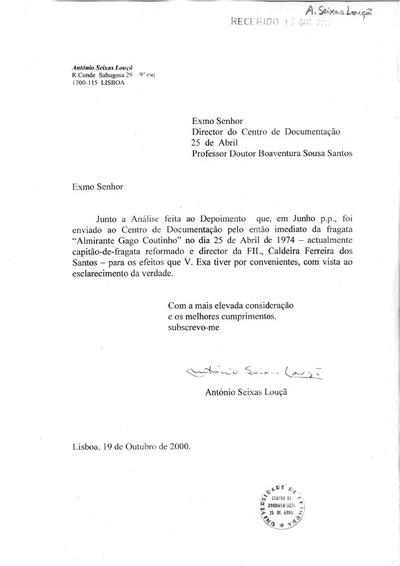 Análise do depoimento do Cap-Fragata Ref. Caldeira dos Santos de Junho de 2000