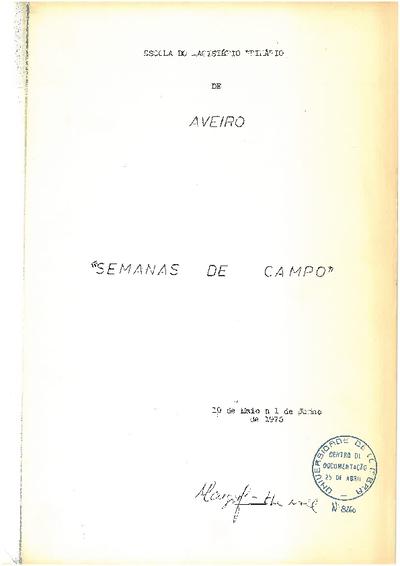 Semanas de campo: 19 de Maio a 1 de Junho de 1975