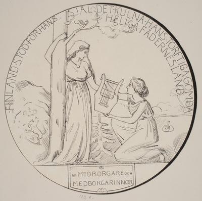 Tuschteckningar av jubileumsmedaljen 1904, baksidan (framsidan  ...