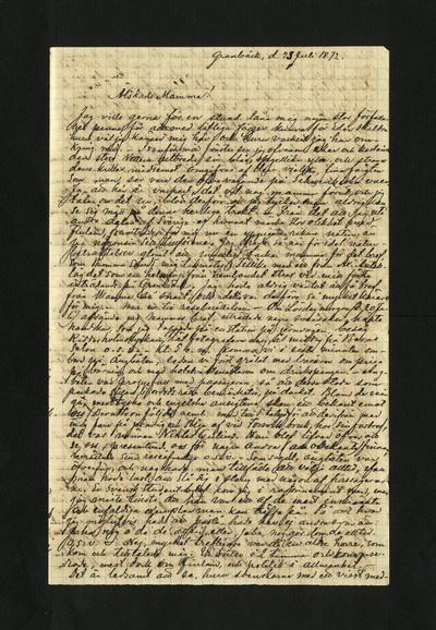 Granbäck, d. 23 Juli 1872.