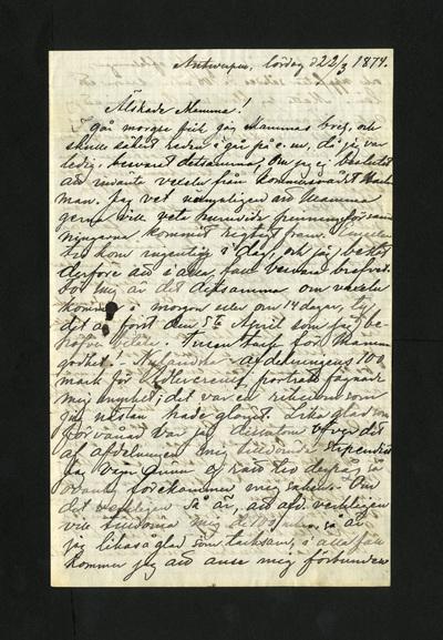 Antwerpen, lördag d 22/3 1874.