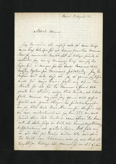 Paris d. 19 Augusti 187