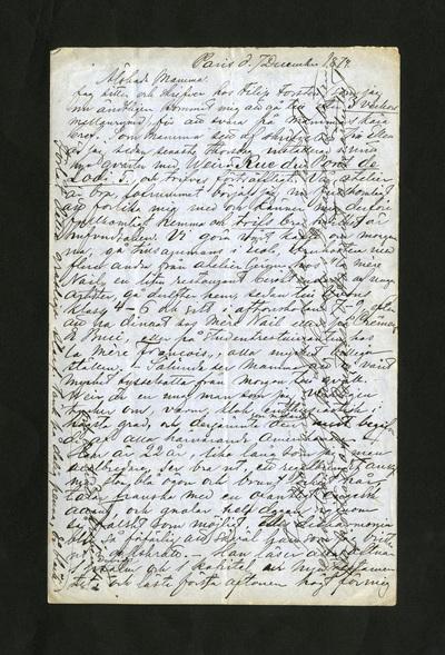 Paris d. 7 December 1874.