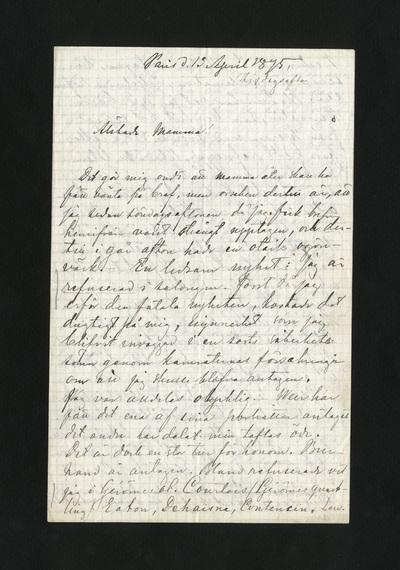 Paris d. 13 April 1875. (tisdagsafton