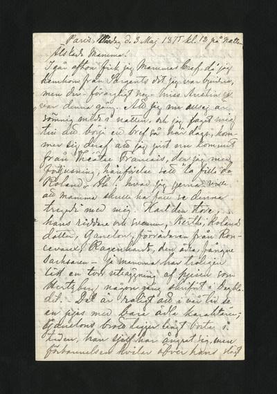 Paris, Måndag d. 3 Maj 1875 kl. 12 på natten