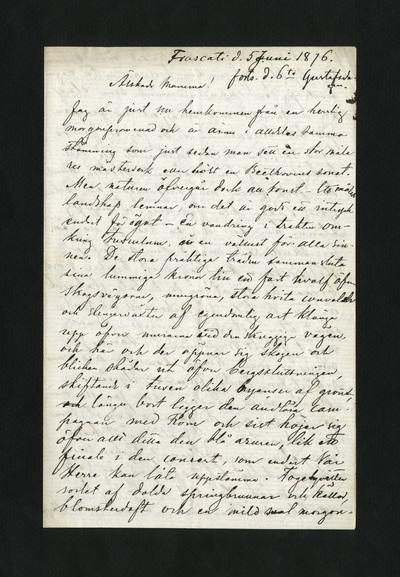 Frascati d. 5 Juni 1876. forts. d. 6te Gustafsdagen