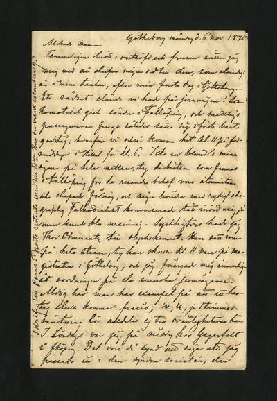 Götheborg måndag d. 6 nov. 1876