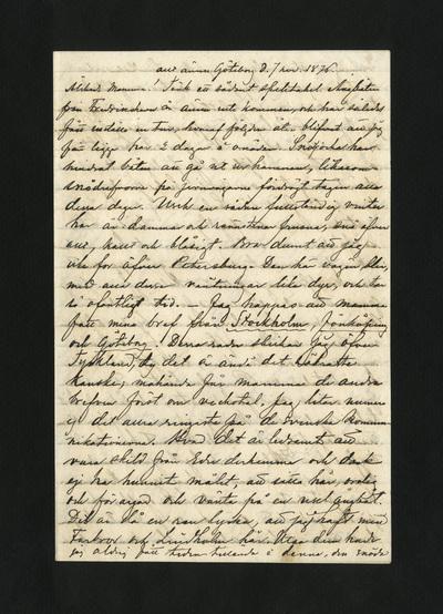 allt ännu Göteborg d. 7 nov. 1876.