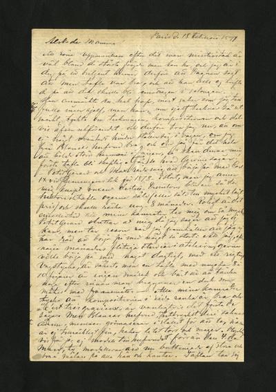 Paris d. 18 Februari 1877