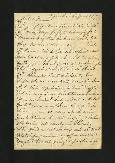 Paris d. 26 April 1877.