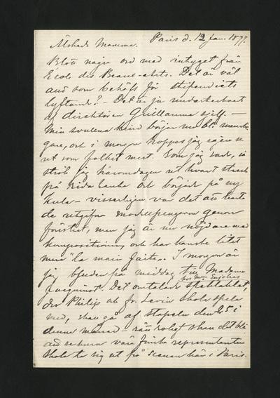 Paris d. 12 Jan. 1877.