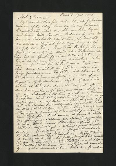 Paris d. 1 Juli 1878