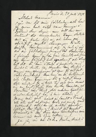 Paris d. 22 Juli 1878