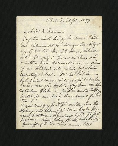 Paris d. 28 febr. 1879