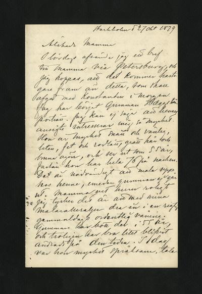 Stockholm d 27 okt 1879