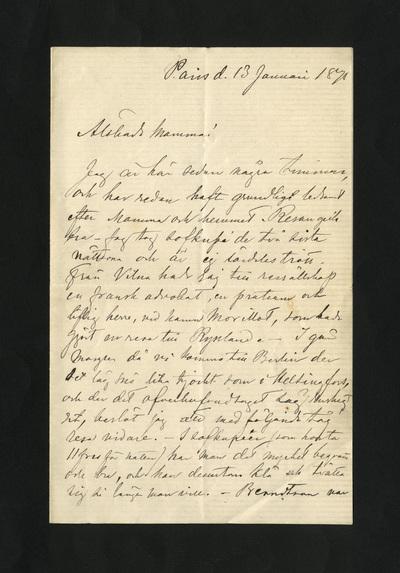 Paris d. 13 Januari 1879