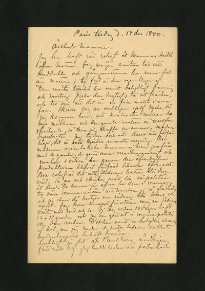 Paris tisdag d. 14 dec 1880.