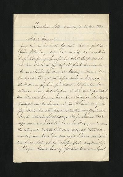 Zarskoïe Selo d. 28 nov. 1881