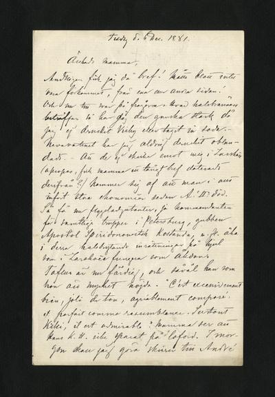 Tisdag d. 6 Dec. 1881