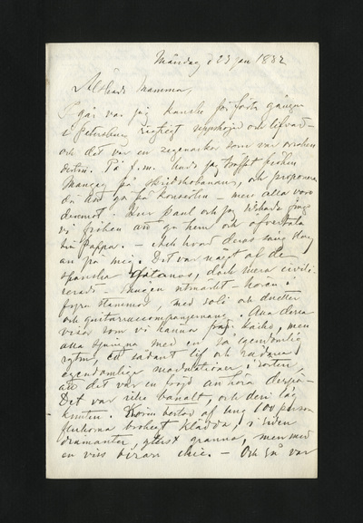 Måndag d 23 jan 1882