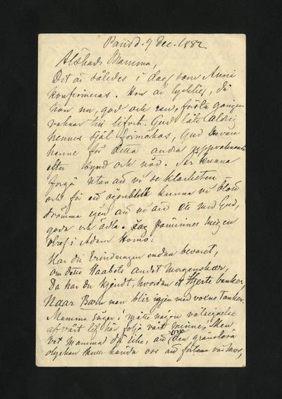 Paris d. 9 dec. 1882