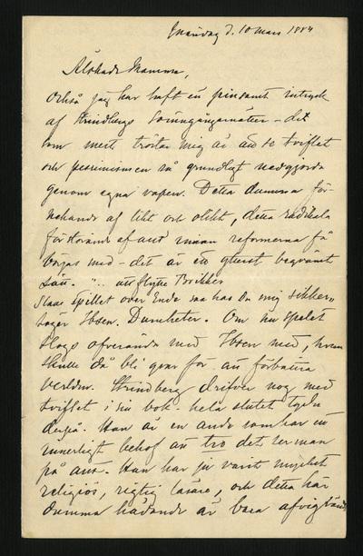Måndag d. 10 mars 1884