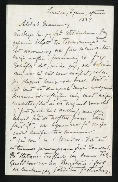 London, 3 juni, aftonen 1884.