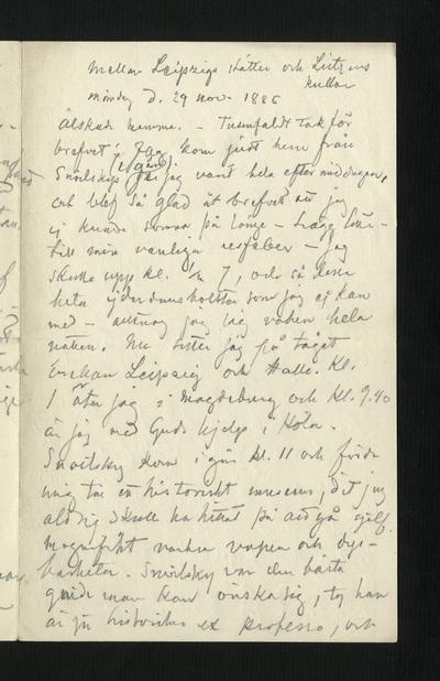 Mellan Leipzigs slätter och Lützens kullar måndag d. 29 nov. 1886