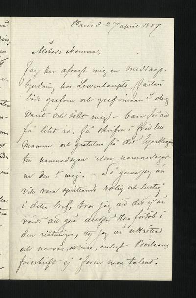 Paris d. 27 april 1887