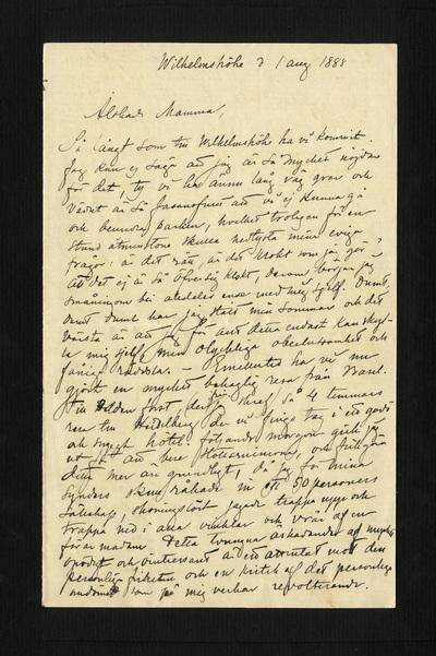 Wilhelmshöhe d. 1 aug. 1888
