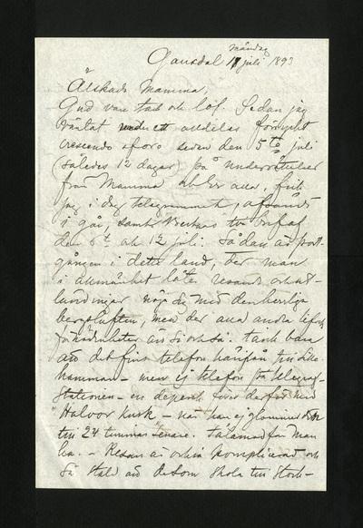Gausdal måndag 11 juli 1893