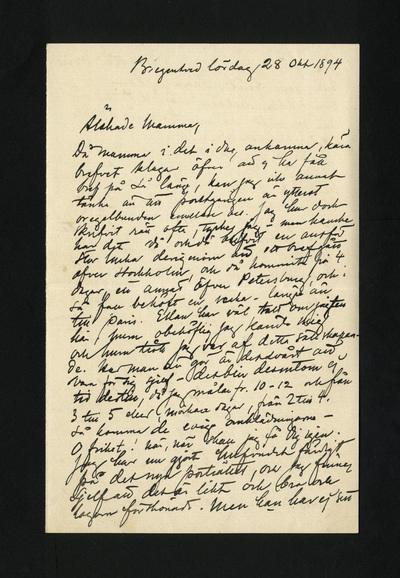 Bregentved lördag 28 Okt 1894