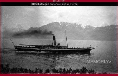 """Bateau à vapeur """"Helvétie"""", lac Léman"""