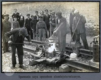 Building the tram line.