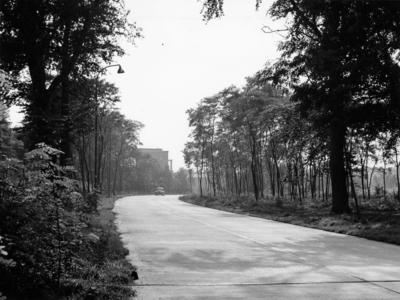 Schuttersweg. gezien vanaf de oversteek bij de NCRV in de richting van de flat