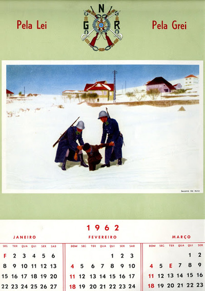 Calendário da Guarda Nacional Republicana [GNR] de 1962 (janeiro-março): [visual gráfico] socorro na neve