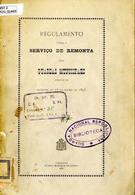 Regulamento para o serviço de remonta das Guardas Municipaes approvado por decreto de 13 de julho de 1895